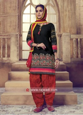Black Cotton Patiala Suit with Shaded Dupatta