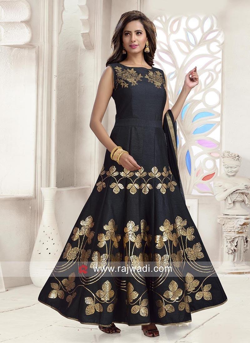 Black Cotton Silk Anarkali Dress