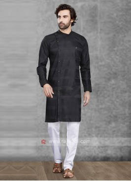 Black Cotton Silk Kurta Pajama
