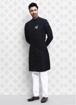 Black Cotton Silk Kurta Pajama