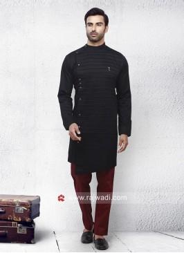Black Cotton Silk Pathani Set