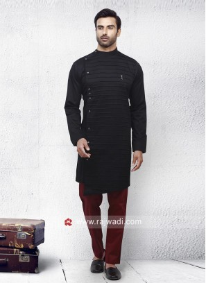 Black Cotton Silk Pathani Set