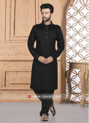 Black Cotton Silk Pathani Suit