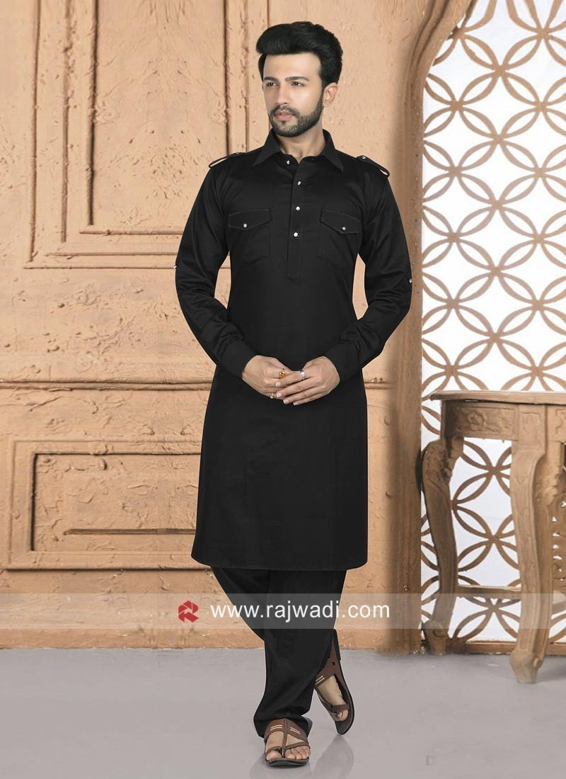 Black Cotton Silk Pathani Suit
