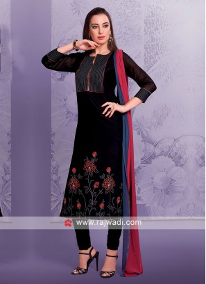 Black Cotton Silk Salwar Suit
