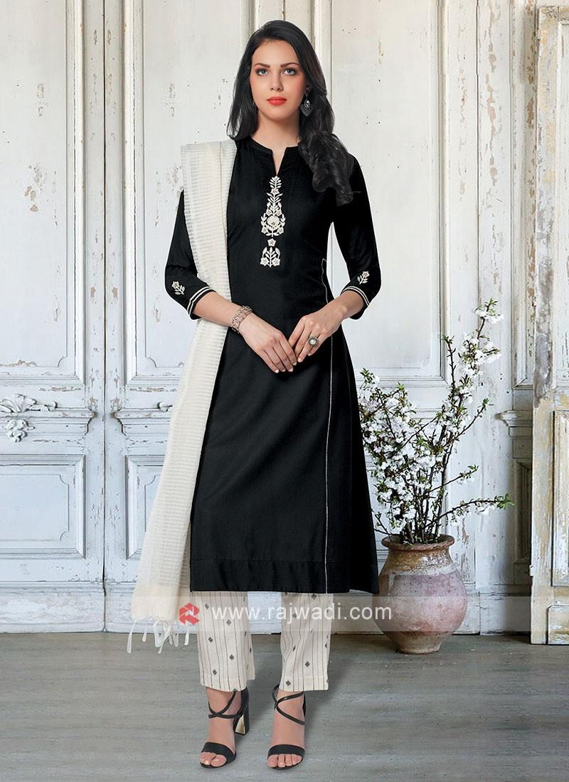 Black & Cream Color Salwar Suit