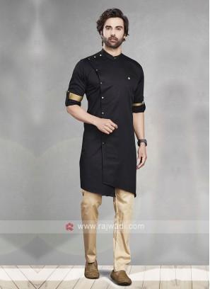 Black & Cream Kurta Pajama For Men