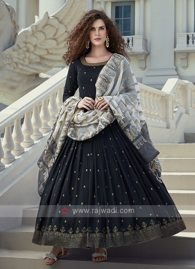 Black crepe silk anarkali suit