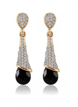 Black Crystalline Drop Earrings