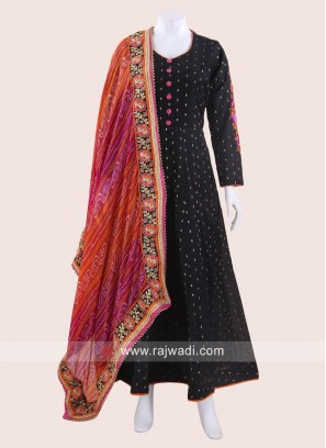 Black Designer Anarkali Suit