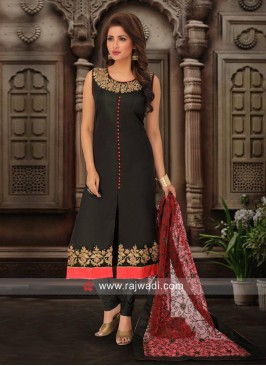 Dark Bottle Green Designer Churidar Suit