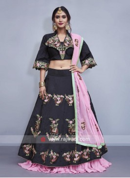 Black Designer Double Layered Lehenga Set