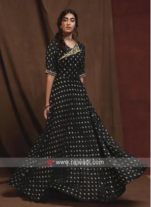 Black Designer Gown Style Flare Kurti