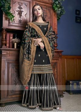 Black Designer Palazzo Suit