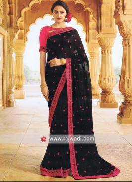 Black Designer Saree with Blouse