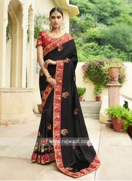 Black Designer Saree with Border