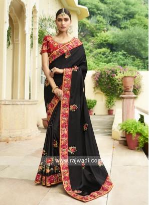 Black Designer Saree with Border