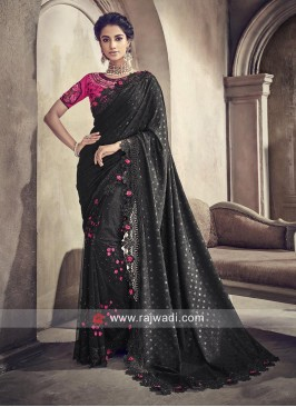 Black Designer Saree with Pink Blouse