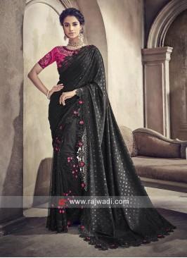 Black Designer Saree with Pink Blouse