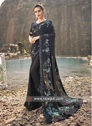 Black Designer Saree with Raw silk Blouse