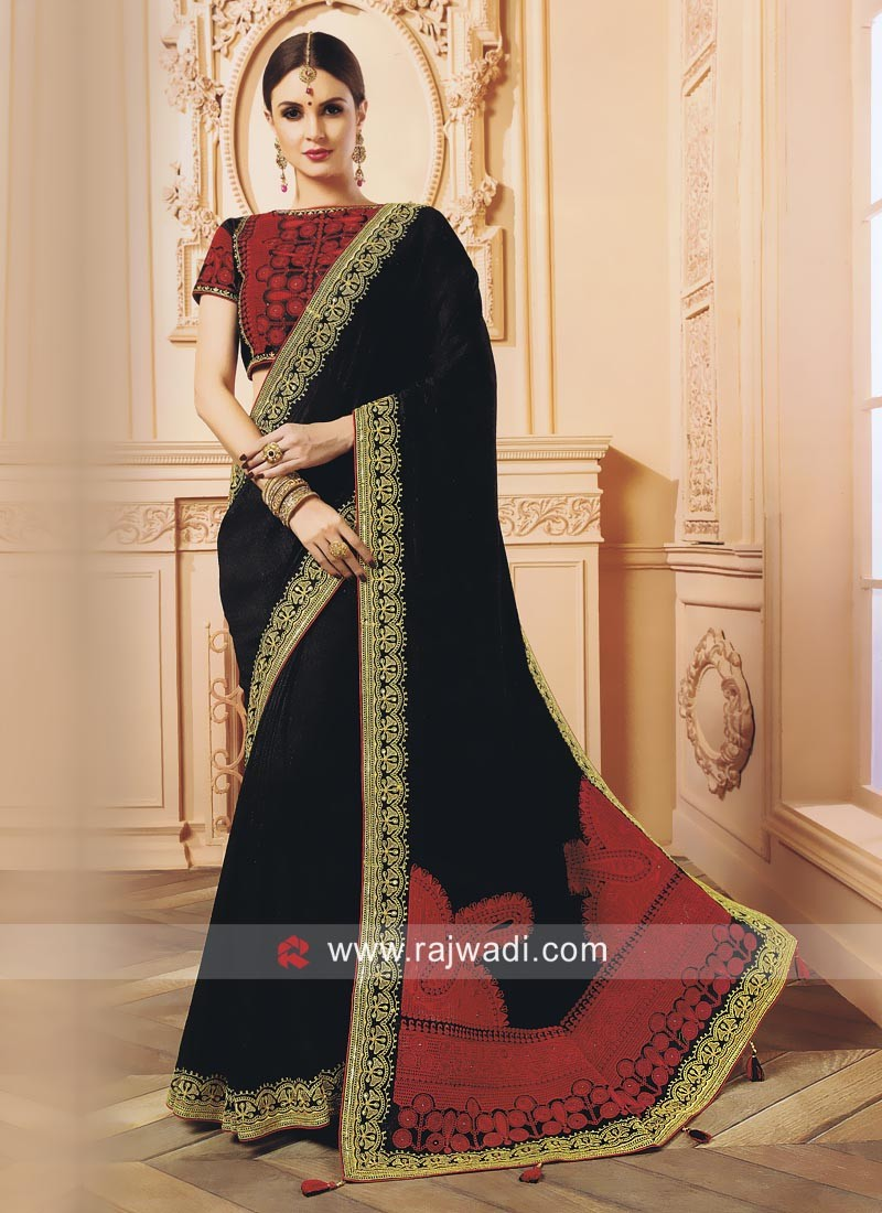 Black Designer Wedding Saree