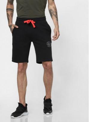 Black Drawstring Regular Fit sweatshorts
