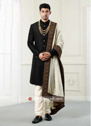 Black Emboss Fabric Indo Western