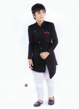 Black Art Silk Fabric Indo Western