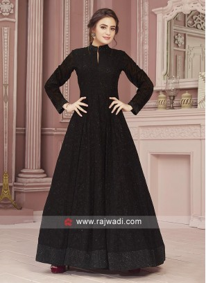 Black Embroidered Anarkali Suit