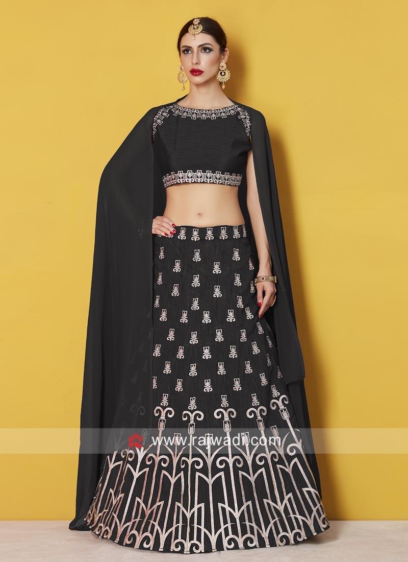 Black Embroidered Art Silk Lehenga