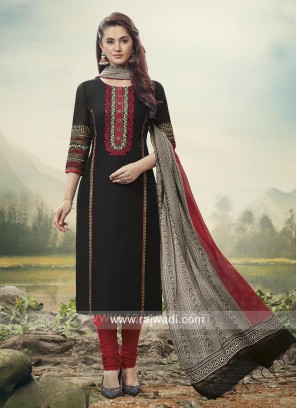 Black Embroidered Churidar Suit