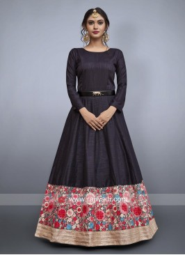 Black Embroidered Gown with Waist Belt