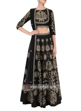 Black Embroidered Lehenga Set