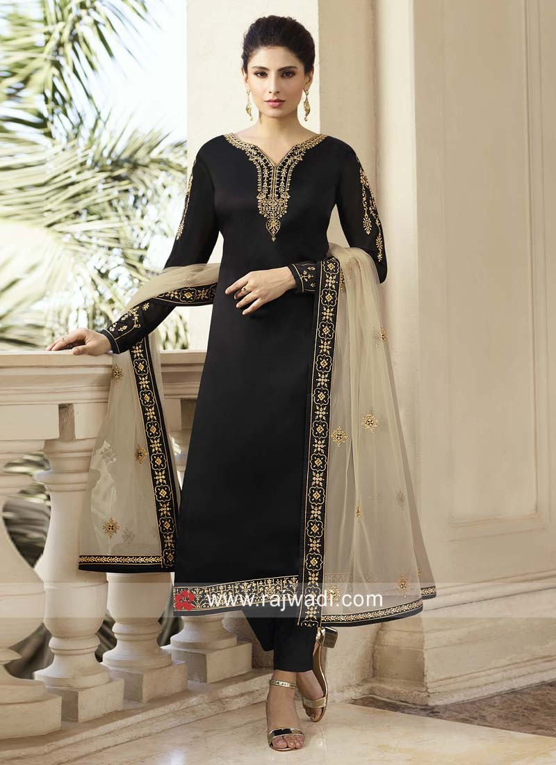 Black Embroidered Trouser Suit with Dupatta