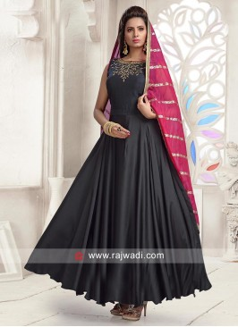 Black Flared Anarkali Dress with Chunni