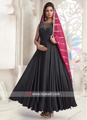 Black Flared Anarkali Dress with Chunni