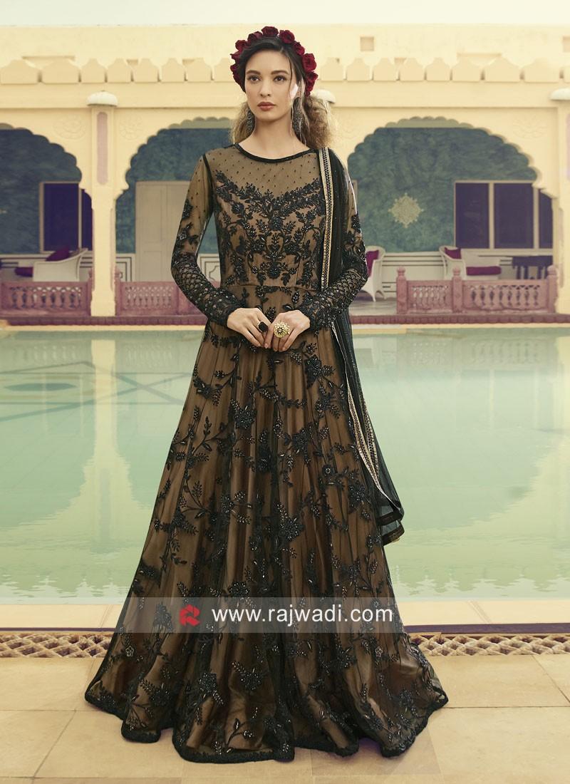 Black Floor Length Anarkali Salwar Kameez
