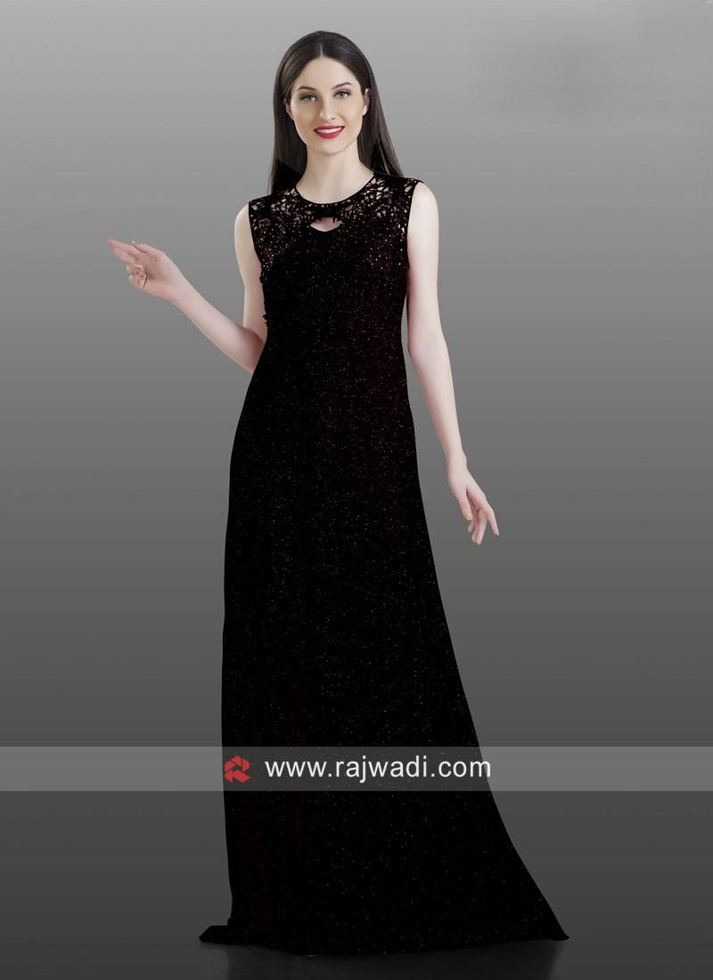 Black Floor Length Koti Style Kurti