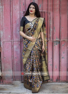 Black Flower Weaved Saree