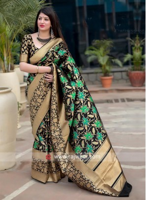 Black Flower Weaving Saree