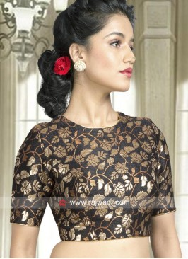 Black Flower Work Ready Blouse