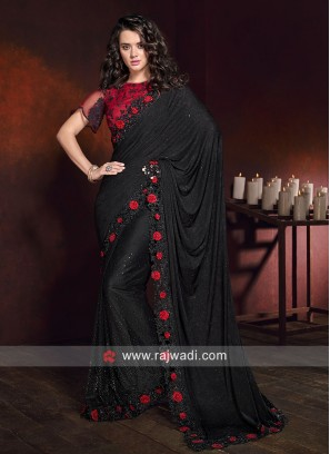 Black Flower Work Saree