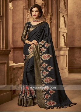 Black Flower Work Saree with Tassels