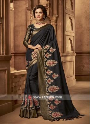 Black Flower Work Saree with Tassels