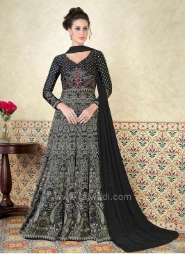 Black Full Length Printed V Neck Salwar Suit