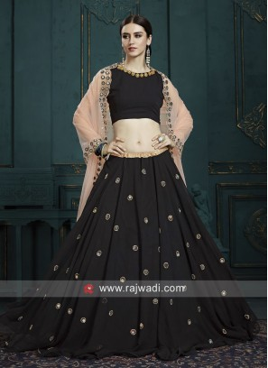 Black Georgette Lehenga Choli with Dupatta