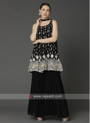 Black Gharara Suit With Dupatta