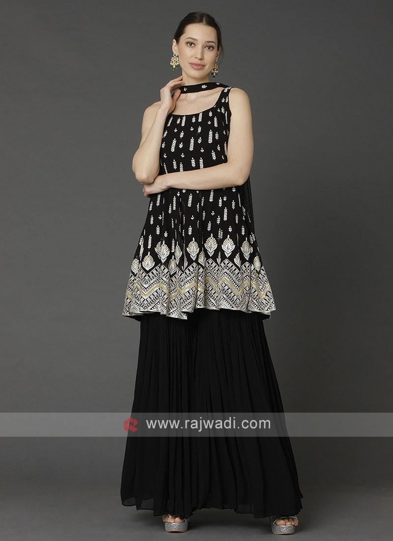 Black Gharara Suit With Dupatta