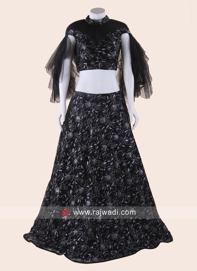 Black Glitter Work Designer Lehenga Choli