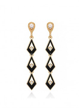 Black Gold Plated Layered Earrings